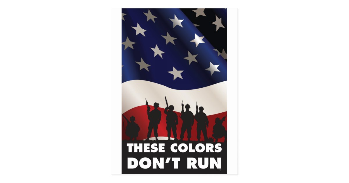 us flag and these colors don t run postcard