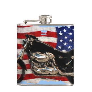 US Flag and Motorcycle Design Hip Flasks