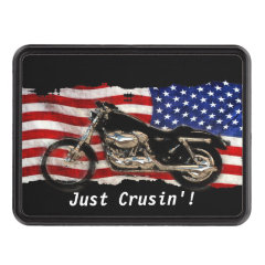 US Flag and Motorcycle Design Tow Hitch Covers