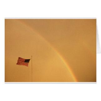 US Flag and Rainbow (card) Card