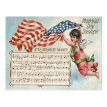 US Flag Angel Cherub Star-Spangled Banner Postcard