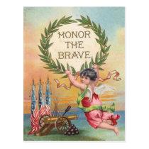 US Flag Angel Wreath Cannon Cannonball Postcard