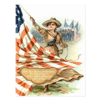 US Flag Army Child Uniform Postcard