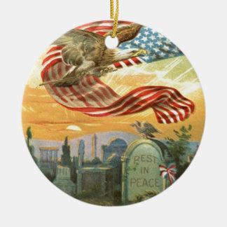 US Flag Bald Eagle Cemetery Tombstone Wreath Ceramic Ornament