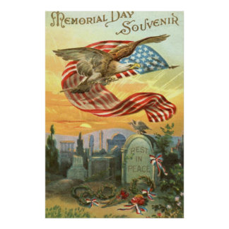US Flag Bald Eagle Cemetery Tombstone Wreath Poster