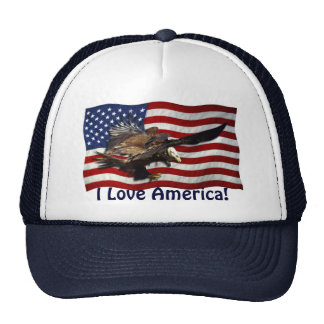 US FLAG & Bald Eagles Hat