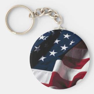 US flag Basic Round Button Keychain