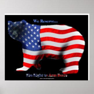 US FLAG & BEAR Funny Anti-Hunting Patriotic Poster