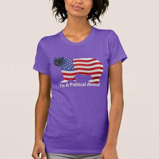 US FLAG & BEAR USA Political Animal Funny T-Shirt