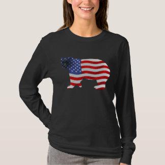 US FLAG & BEAR USA-style Ladies Shirt