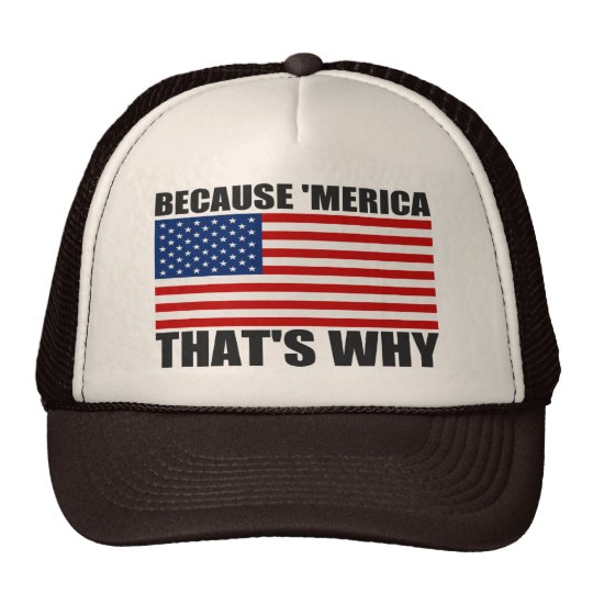 US Flag BECAUSE 'MERICA THAT'S WHY Trucker Hat