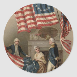 US Flag Betsy Ross George Washington Classic Round Sticker