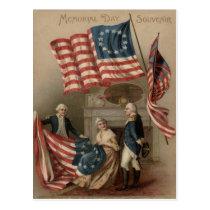 US Flag Betsy Ross George Washington Postcard