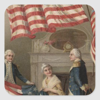 US Flag Betsy Ross George Washington Square Sticker