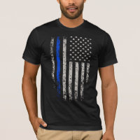 US Flag Blue Thin Line T-Shirt
