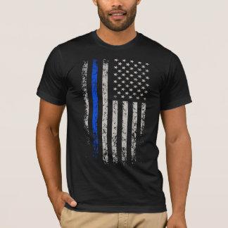 US Flag Blue Thin Line T-Shirt