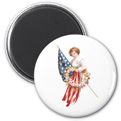 US Flag, Boy and Wreath Vintage Patriotic 2 Inch Round Magnet