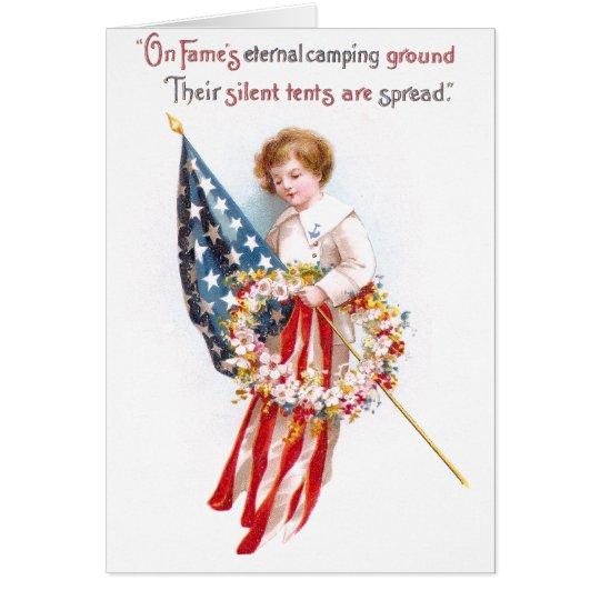 US Flag, Boy and Wreath Vintage Patriotic Card
