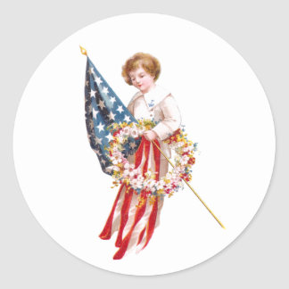 US Flag, Boy and Wreath Vintage Patriotic Classic Round Sticker
