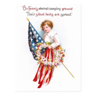 US Flag, Boy and Wreath Vintage Patriotic Postcard