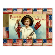 US Flag Boy Fireworks Firecracker Post Cards