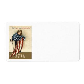 US Flag Boy Sword 4th of July 1776 Label
