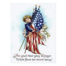 US Flag Boy Wreath Flower Memorial Day Postcard