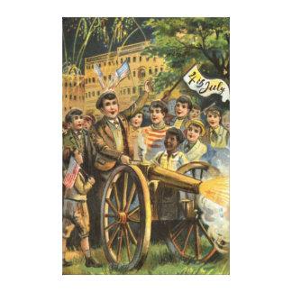 US Flag Cannon Fireworks Firecracker Canvas Print