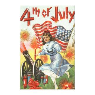 US Flag Cannon Girl Fireworks Firecracker Canvas Print