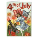 US Flag Cannon Girl Fireworks Firecracker Card