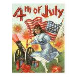 US Flag Cannon Girl Fireworks Firecracker Postcard