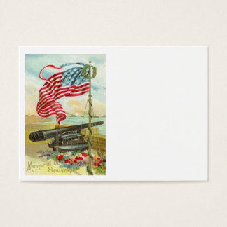 US Flag Cannon Ship Boy Flower Memorial Day Business Card