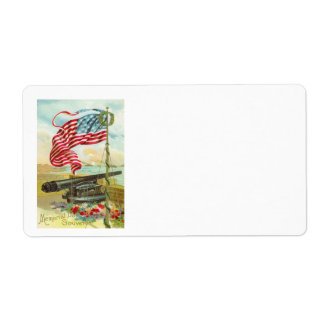 US Flag Cannon Ship Boy Flower Memorial Day Label