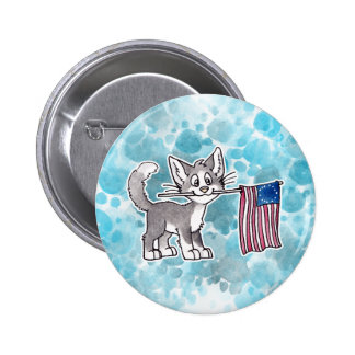 US Flag Cat 2 Inch Round Button