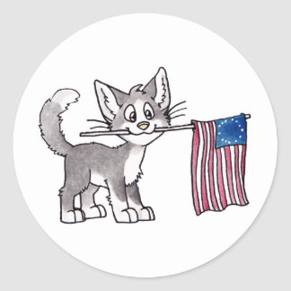 US Flag Cat Classic Round Sticker