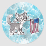 US Flag Cat Stickers
