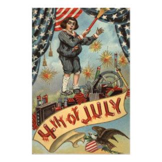 US Flag Child Fireworks Firecracker Photo Print