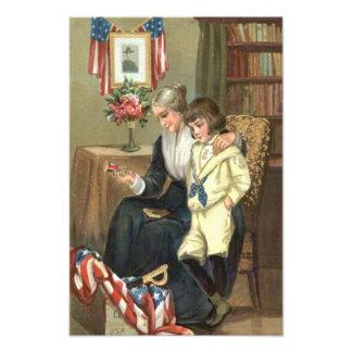 US Flag Child Memorial Woman Rose Sword Photo Print
