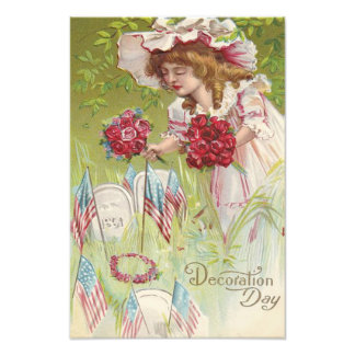 US Flag Child Rose Tombstone Graveyard Photo Print