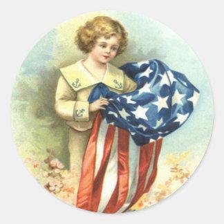 US Flag Child Uniform Flowers Classic Round Sticker