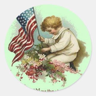 US Flag Child Wreath Memorial Day Classic Round Sticker