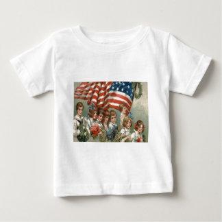 US Flag Children Flower Wreath Parade Baby T-Shirt