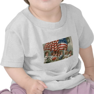 US Flag Children Flower Wreath Parade Tees