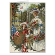 US Flag Children Mother Flowers Wreath Card