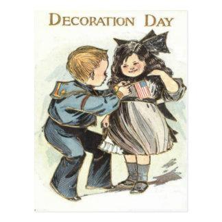 US Flag Children Uniform Decoration Day Post Card
