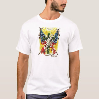 US Flag Christian Cross Dove Lily Of The Valley T-Shirt
