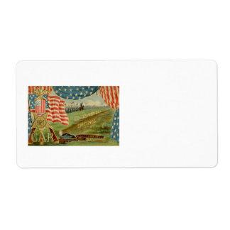 US Flag Civil War Union Medal Label