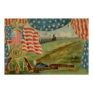 US Flag Civil War Union Medal Poster