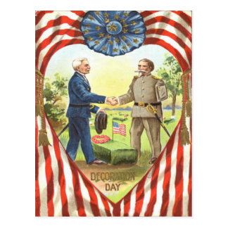US Flag Confederate Union Civil War Postcard
