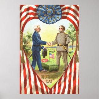 US Flag Confederate Union Civil War Poster